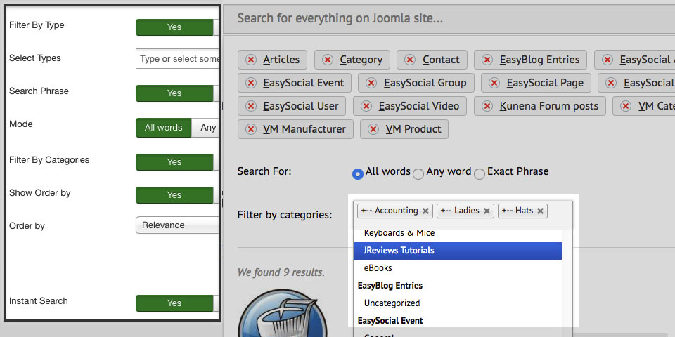 Geek Elasticsearch version 1 5 0 - Filter by multiple categories